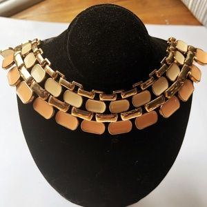 1970s Cream & SalmonEnamel Statement Necklace